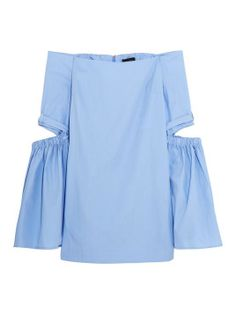 Ellery - Cyril off-the-shoulder cutout cotton-poplin top Blue Off Shoulder Top, Off Shoulder Shirt, Loose Fitting Tops, Loose Tops, Funny Fashion, Girl Fashion, Spring Fashion, New Shape, Loose Shirts