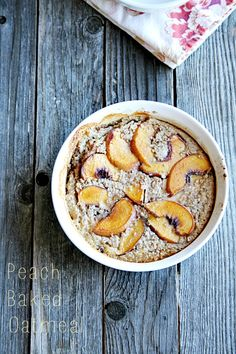 Baked Oatmeal with Peaches - heathersfrenchpress.com #peaches#breakfast
