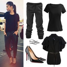 Zendaya: Short Sleeve Jacket, Drawstring Pants  Get the look for less with a sleeveless blazer from Jones New York ($49.99), raw edge tee from Alloy ($5.99), drawstring sweatpants from Go Jane ($40.50), and patent pumps from MIA ($47.99).