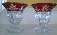 SET OF 2 MIKASA CRYSTAL CELEBRATIONS RUBY CORINTH CANDLE HOLDERS/VOTIVES 4 1/2""