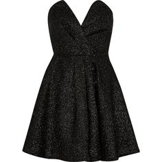 River Island Black sparkly bandeau prom dress ($130) ❤ liked on Polyvore featuring dresses, short dresses, vestidos, black, prom dresses, women, plunging neckline prom dress, sparkly cocktail dresses, black full skirt and full skirt