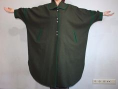 SALKO LODEN TYROL Vtg 70s TRADITIONAL Green 100% PURE WOOL CAPE CLOAK SIZE EU 42 | eBay