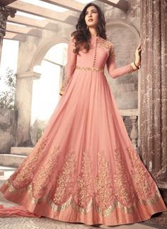 Sonal Chauhan Pink Color Net Designer Anarkali Suit latest designer silk punjabi, party wear georgette salwar suit, and in all fabrics available at VJV Bridal Party Dresses, Party Wear Dresses, Bridal Outfits, Pakistani Outfits, Indian Outfits, Abaya Fashion, Indian Fashion, Emo Fashion, Style Fashion