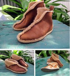 How to Create Simple Shearling Boots Patterns Diy Clothing, Sewing Clothes, Clothes Patterns, Homemade Shoes, Shoe Pattern, Shearling Boots, How To Make Shoes, Leather Projects, Mode Inspiration