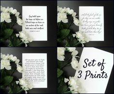 "Bible Verses Set of 3 Gallery Wall Prints - 5x7"" or 8x10"" - Hebrews 6, Isaiah 40, Matthew 6:26 by ShopStreetlights"