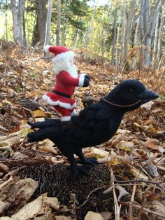 Needle Felted Raven and Santa Claus - Needlefelted Wool Father Christmas And Animal Soft Sculpture