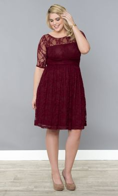 Our plus size Luna Lace Dress in a stunning Raspberry Wine color is back. Get yours before it sells out again! www.kiyonna.com #KiyonnaPlusYou #Plussize #MadeintheUSA #Kiyonna