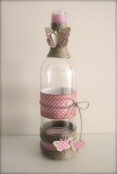 idea para adornar botella de cristal