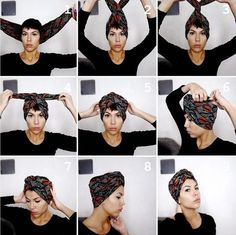 2018 Ankara Head Wrap Styles: Classic Ways To Tie Ankara Head wrap Styles - Scarf hairstyles - Hair Wrap Scarf, Hair Scarf Styles, Curly Hair Styles, Natural Hair Styles, Turban Mode, Tie A Turban, Hair Turban, Turban Hijab, Turban Headbands