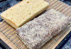 LAMINGTON CAKE Lamington Cake Recipe, Coconut Icing, Full Fat Milk, Cooking Measurements, Chocolate Icing, Large Plates, Strawberry Jam, Aussies