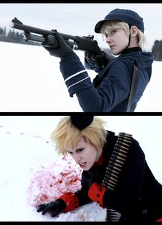 First shooting of 2013! Axis Powers Hetalia - Nordic Powers - Denmark and Sweden Snow and Blood I love the dynamics between the two, the aggression and their very different characters. They're war....
