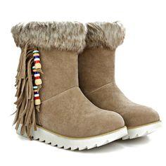 $27.53 Faux Fur Fringe Ankle Boots