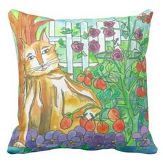 Watercolor Cat Painting Vegetable Garden Pillow