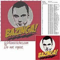 Sheldon Cooper Bazinga free cross stitch pattern 100x100 39 colors