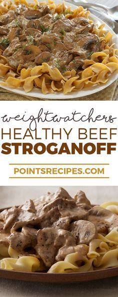 Healthy Beef Stroganoff (Weight Watchers SmartPoints) try with zoodle ribbons! Low Calorie Dinners, No Calorie Foods, Low Calorie Recipes, Low Fat Meals, Low Fat Dinner Recipes, Skinny Recipes, Ww Recipes, Cooking Recipes, Healthy Recipes