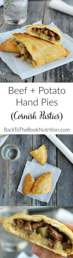 Pot roast meets flaky pie pastry in these beef and potato hand pies! Classic, British inspired comfort food!   Back To The Book Nutrition