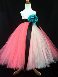 Flower Girl Tutu Dress with Satin Straps by JustaLittleSassShop