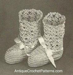 Cute BABY BOOTEES. Vintage Crochet Pattern