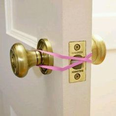 Great idea for classroom....Leave the door locked at all times and move the rubberband in case of emergency.  But be sure to get the really wide rubberbands so they will hold up to everyday use.
