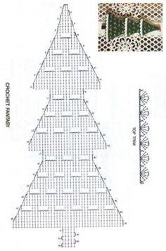 Christmas tree with white borders – free crochet pattern. Crochet Christmas Decorations, Crochet Christmas Trees, Christmas Tree Pattern, Christmas Crochet Patterns, Crochet Doily Patterns, Crochet Diagram, Crochet Chart, Christmas Knitting, Crochet Motif