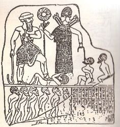 """Babylonian/Akkadian king, wearing a shepherd's hat and holding a shepherd's crook, stands with his foot astride a cringing prisoner of war. The king receives the blessings of Inanna, the goddess of war, who holds a prisoner at the end of a rope. The lower register shows the captives being """"herded"""" into slavery. Sometimes mistaken for a Sumerian king, but it is actually an Akkadian/Babylonian king since he wears the typical short skirt."""