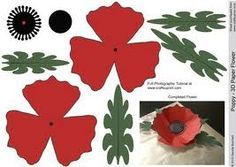 7 Best Images of Paper Printable Poppy Flower Pattern - Paper Flower Templates Printable Free, Designs Digital Paper Poppy Flowers and Free Poppy Paper Flower Templates 3d Paper Flowers, Paper Flower Patterns, Felt Flowers, Fabric Flowers, Paper Dahlia, Poppy Flowers, Poppy Template, Flower Template, 3d Templates