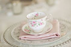 Pink mismatched china from rentmydust.com = Southern Wedding at TheMilestone - Blog - RENT MY DUST Vintage Rentals Dallas Texas