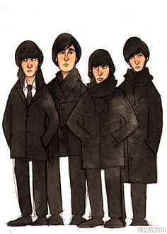 The Beatles! From left to right: George, John, Ringo, and Paul.