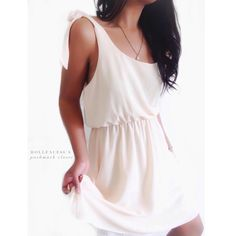 """Anthropologie Cream Sundress This beautiful cream sundress has ribbon ties on each shoulder & a soft ethereal look. It's a by an Anthro brand tag is pictured {actual color of item may vary slightly from photos}  •chest:19.5"""" •waist:14.5""""w/stretch •length:39"""" shoulder down to H&M  •sleeve:17""""  Material:100%polyester ️hand wash  Fit:true/style could work for medium Condition:no rips no stains  ❌no holds ❌no trades ♥️️bundles of 3/more items get 20% off Anthropologie Dresses"""