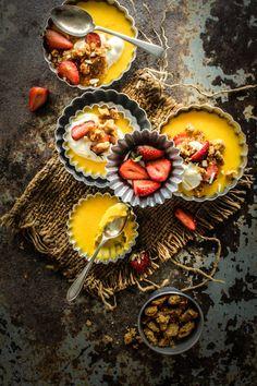 Saffron Baked Custard With Cardamom Crumble
