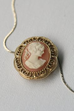 Peach Cameo Necklace by DifferentLensDesigns, $18.00 #jewelry #vintage