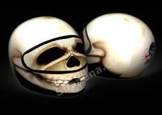 Skull Motorcycle Helmet Cover AND Visor Sticker Decal Skeleton Bone Head Street…