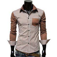 Mens casual plaid check slim dress shirts