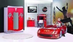 Autobett Komplettzimmer Turbo Fivex in Rot