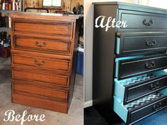 Stick Pony Creations - DIY Dresser Makeover - love the teal drawer insides and gray chevron drawer liner!