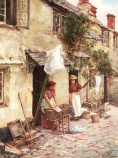 'Cottages at Newlyn' by Granville Eliot (flour 1890) - Archived Paintings from the Swan Gallery
