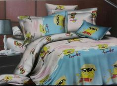 Sponge Bob Square Pants Bed Sheet Kids cartoon glace cotton bedsheet