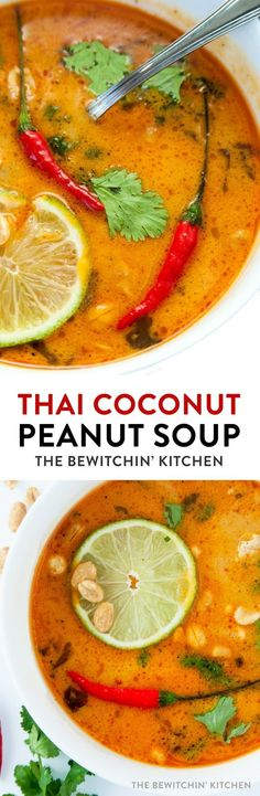 This Thai Coconut Peanut soup recipe makes a delicious and easy dinner. Made with chicken, chili paste, peanut butter, coconut milk and spices, this tasty soup will be a hit with the whole family! #soups #recipes #healthy #coconut