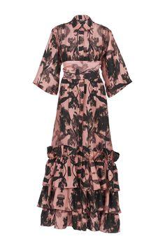 Pink Concrete Dress Spring Resort, Black Flowers, Travel Wardrobe, Shirt Sleeves, Ruffles, Concrete, Cold Shoulder Dress, Shirt Dress, Floral