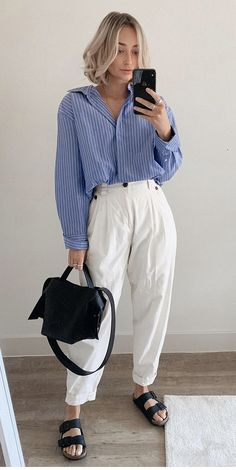 Mode Birkenstock, New Outfits, Summer Outfits, Blues, Navy Blue, Spring Summer, Ootd, Pants, Shirts