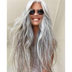 Grey Hair Over 50, Long Gray Hair, Grey Hair Styles For Women, Long Hair Styles, Grey Hair Transformation, Silver White Hair, Grey Hair Inspiration, Gray Hair Highlights, New Hair Do