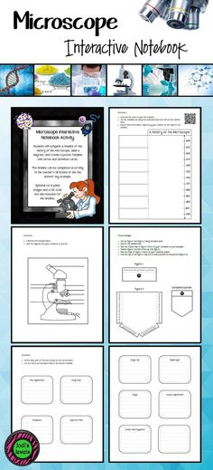 Students will complete a timeline of the history of the microscope, label a diagram, and create a pocket foldable with terms and definition cards. The timeline can be completed according to the teacher's directions or like the answer key example. Optional cut & paste images and a QR code are also included for the timeline. Middle School Science, Elementary Science, Elementary Schools, Upper Elementary, Project Proposal Template, Proposal Templates, Science Notebooks, Interactive Notebooks, Science Topics