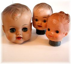 Three Vintage Rubber Doll Heads
