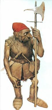 Red Cap... malevolent murderous goblin found in Irish and Scottish folklore, they dye their caps in human blood.