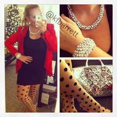 bcbg & polka dot tights & louis vuttion oh my