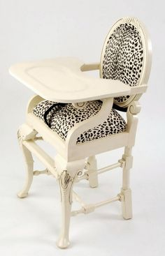 leopard print furniture images | Distressed Ivory Leopard Print High Chair by Nicole Reid