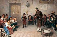 """The Lesson"". Francesco Bergamini (1815 – 1883), Italian painter."