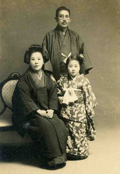 Vintage Japanese Photo Family Kimono Formal Portrait Japan Man Woman Child Girl TokaidoSoftypapa