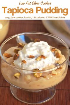 This low fat Slow Cooker Tapioca Pudding is old-fashioned, creamy comfort food that is as easy to make as it is delicious! Slow Cooker Tapioca Pudding Recipe, Pudding Recipes, Ww Desserts, Delicious Desserts, Dessert Recipes, Dinner Recipes, Slow Cooker Recipes, Crockpot Recipes, Food Stamps