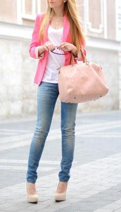Plain shirt + pink blazer.